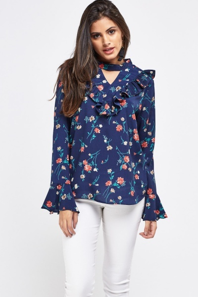 Floral Printed Keyhole Front Blouse