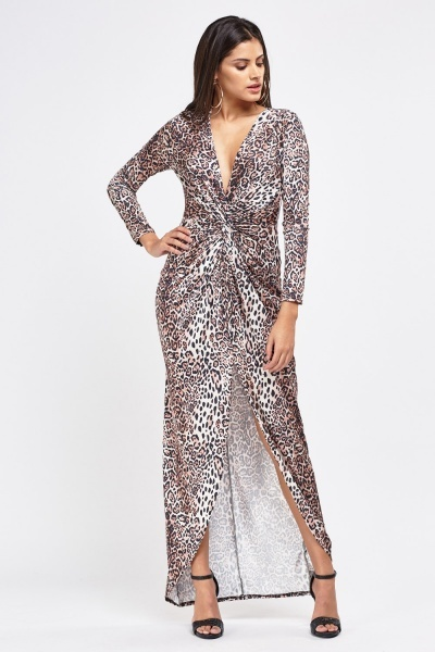 Plunge Knotted Leopard Print Maxi Dress