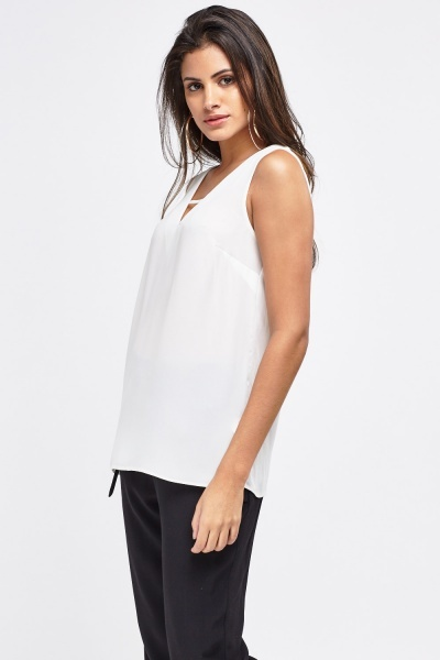 V-Neck Off White Chiffon Blouse