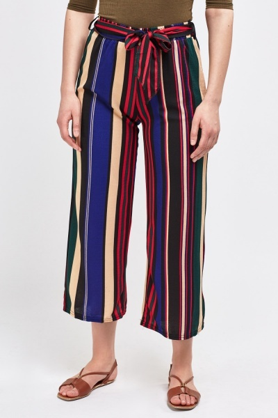 Back/Multi Stripe Culottes With Tie Up Waist