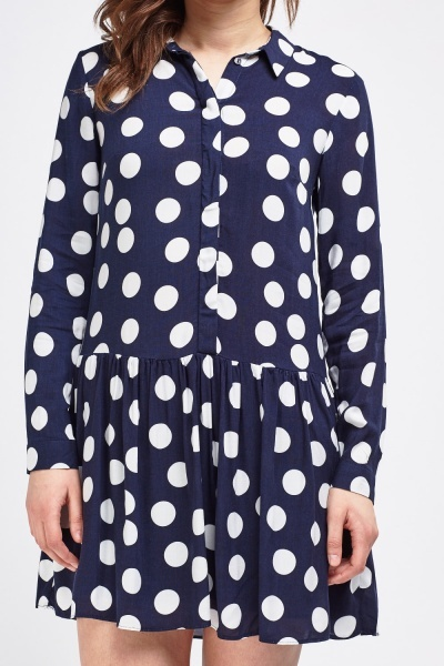 Polka Dot Ruffle Hem Shirt Dress