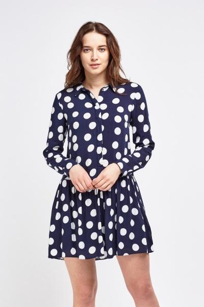 Polka Dot Ruffle Hem Shirt Dress