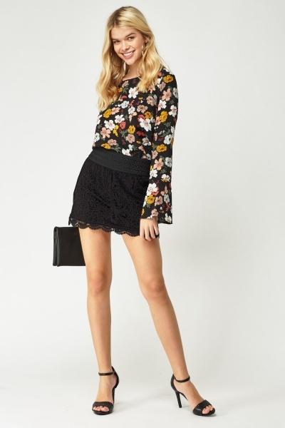 Crotchet Overlay Mini Skirt