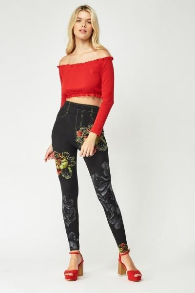 ea3cfae540a8 Encrusted Flower Print Leggings - Just £5