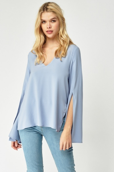 Flared Sleeve V-Neck Top