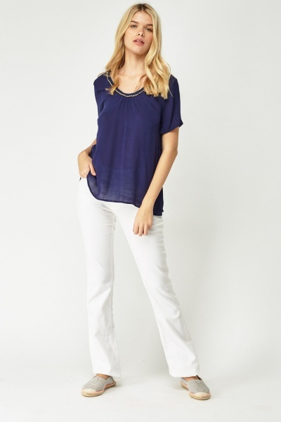 Flared Tunic Chained Trim Top