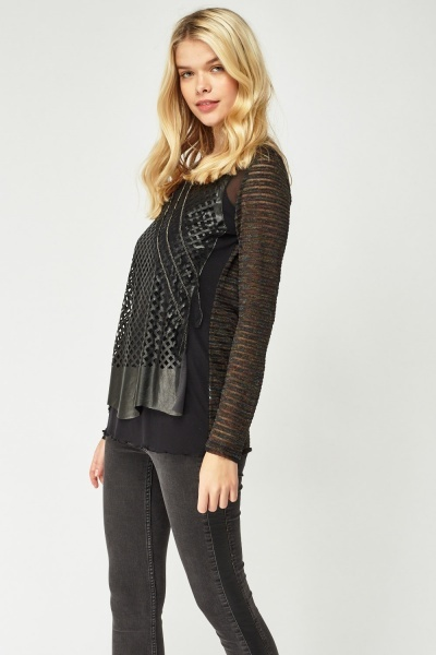 Laser Cut Faux Leather Overlay Top