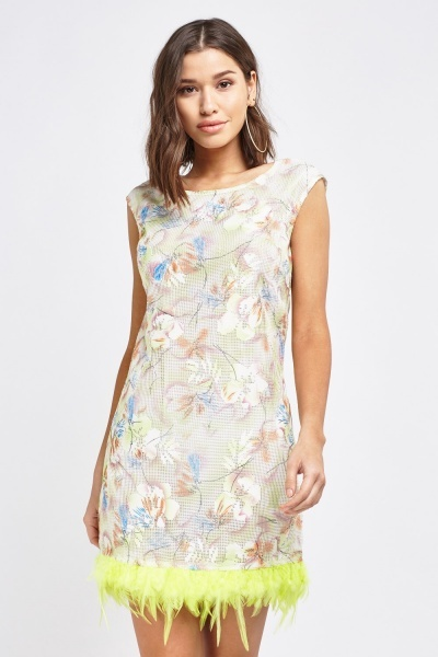 Multi Floral Feather Trim Dress