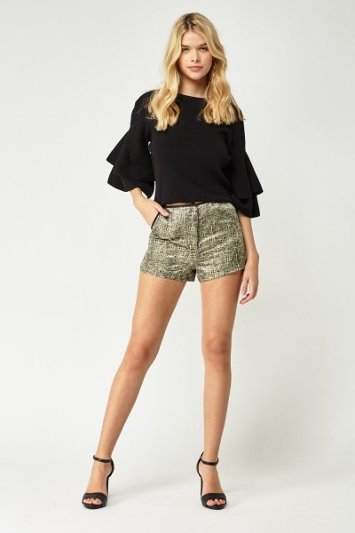 Shiny Textured Jacquard Shorts