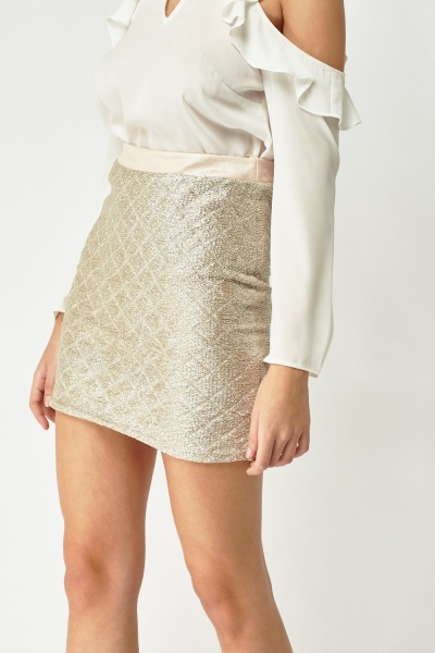 Textured Jacquard Mini Skirt