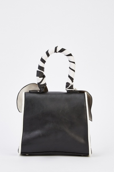 Faux Leather Contrast Bow Front Bag