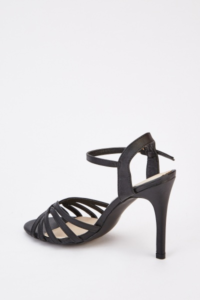 Strappy Heeled Black Sandals