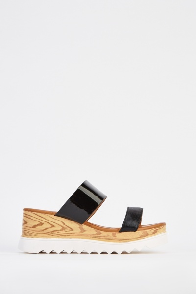 Wedge PVC Black Sandals