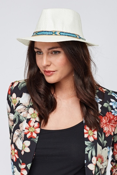 Chained Embroidered Trim Panama Hat