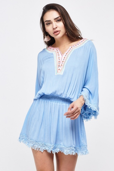 Embroidered Crochet Kaftan Cover Up