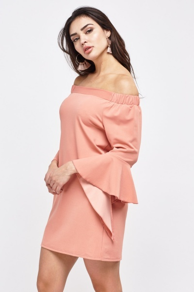 Off Shoulder Dress With Trumpet Sleeve