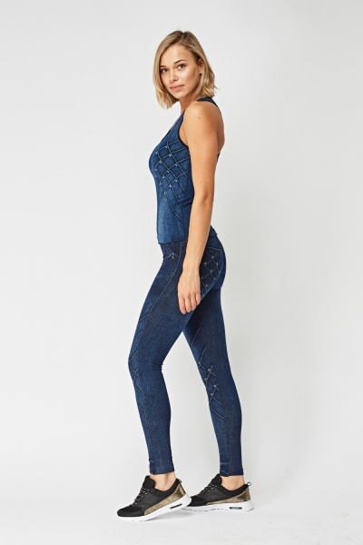 Speckled Denim Sports Tank Top And Leggings Set