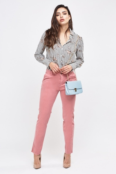 Straight Cut Pink Chino Trousers