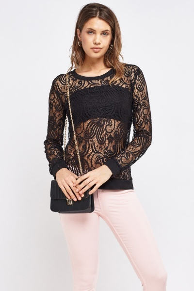 Black Crochet Lace Top