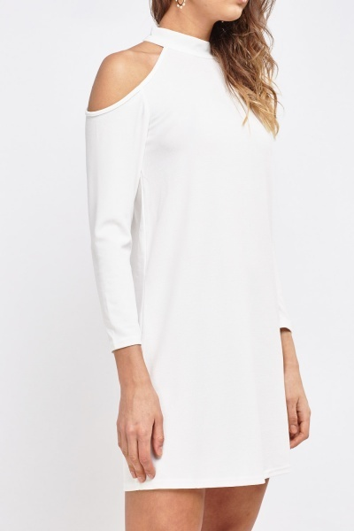 Choker Neck Cut Off Shoulder Dress
