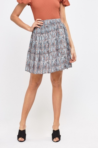 Feather Printed Mini Skirt