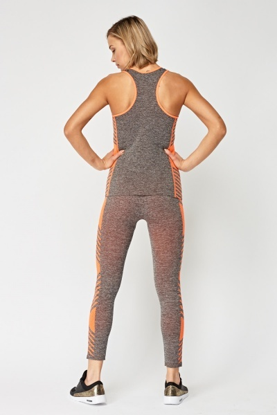 Speckled Sports Tank Top And Leggings Set