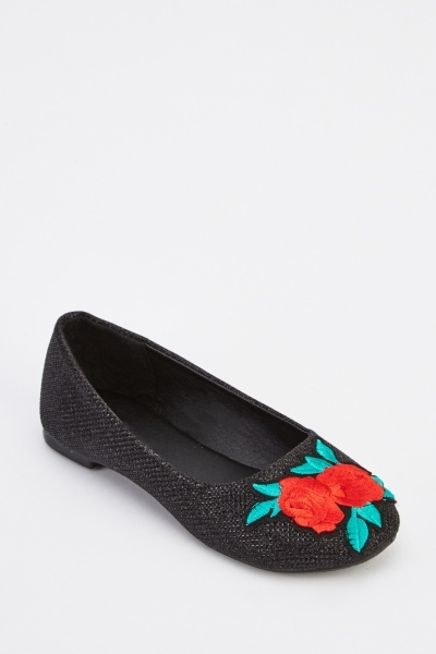 Embroidered Front Girls Shoes