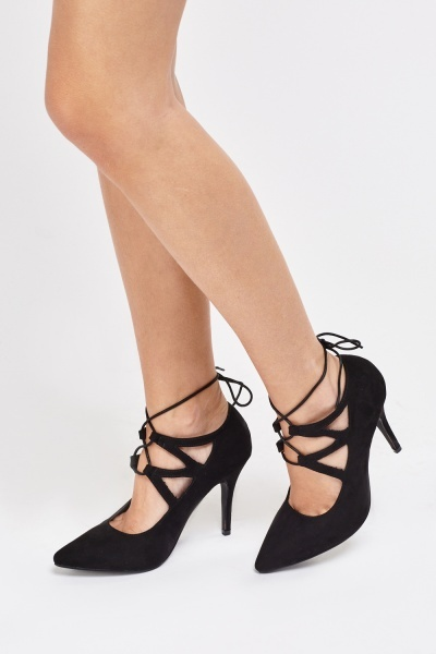 Suedette Court Tie Up Heels