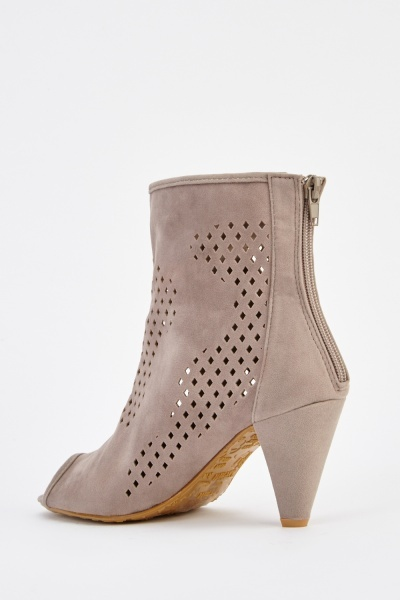 Suedette Peep Toe Heeled Boots
