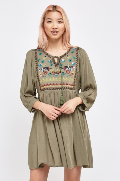 Embroidered Detail Front Tunic Dress