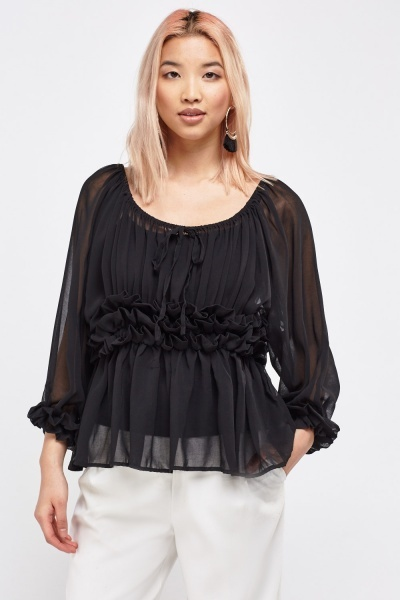 Sheer Crinkle Bishop Sleeve Blouse