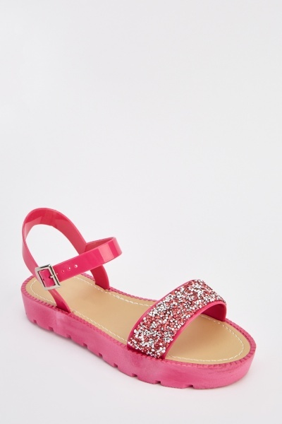 Glittered Front Jelly Sandals