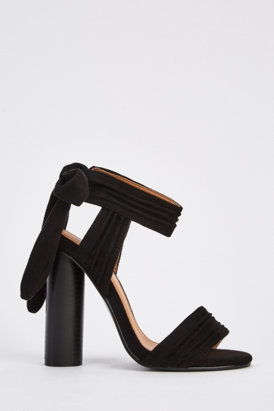 Suedette Bow Side Heeled Sandals