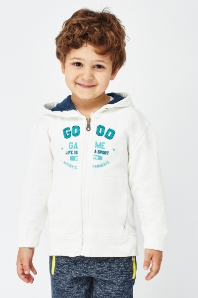 Cream Zipped Boys Hoodie