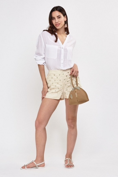 Embroidered Fitted Shorts