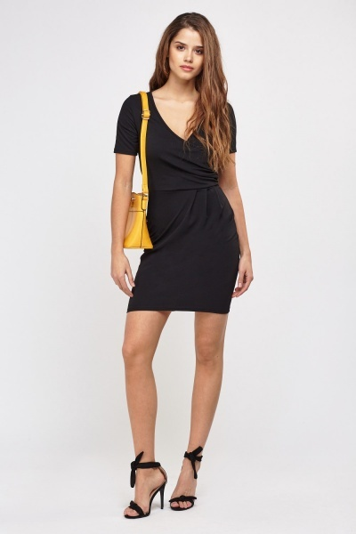 Wrap Front Bodycon Dress