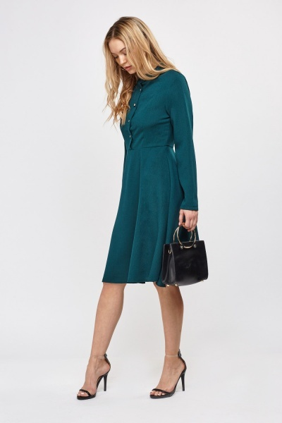 Button Up High Neck Swing Dress