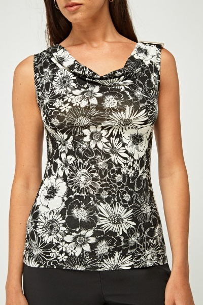 Cowl Neck Mono Printed Top