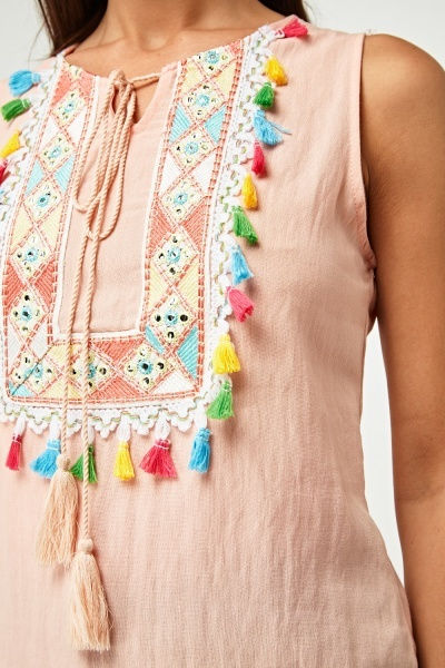 Embroidered Tassel Front Top