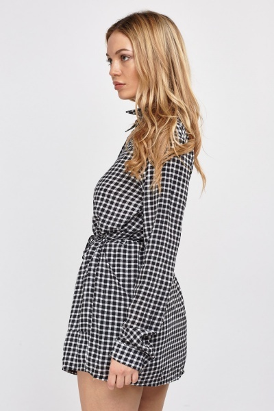 Long Checked Grid Shirt
