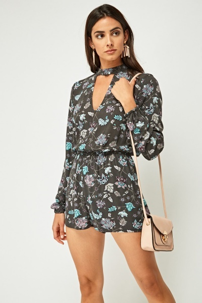 Printed Choker Neck Playsuit