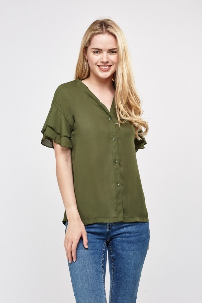 Ruffle Sleeve Sheer Top