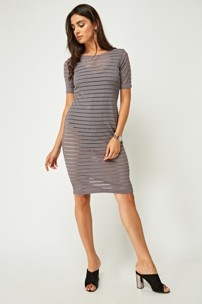 Striped Mesh Midi Dress