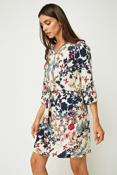 Zip Front Printed Tie Up Dress