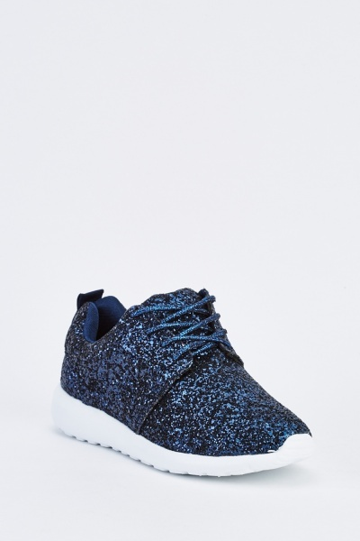 Glittered Blue Lace Up Trainers