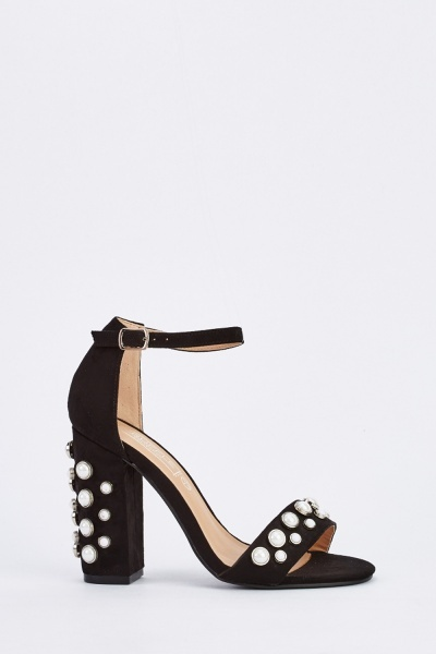 Pearl Studded Block Heel Sandals