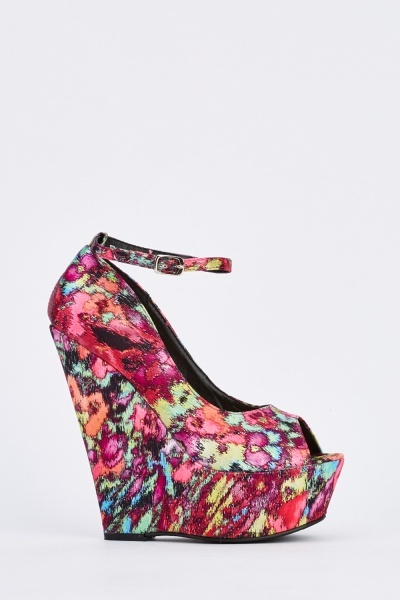 Peeptoe Printed Wedge Shoes