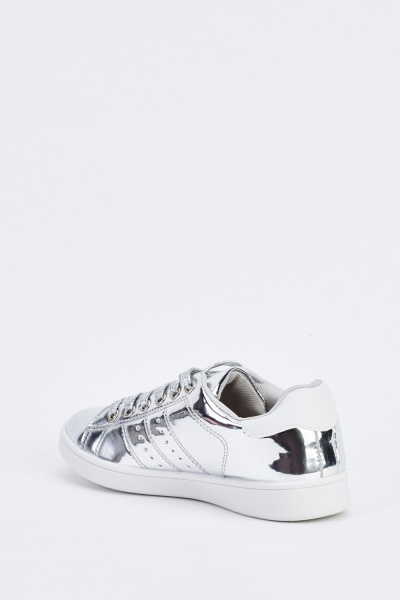 Silver Metallic Low Top Trainers