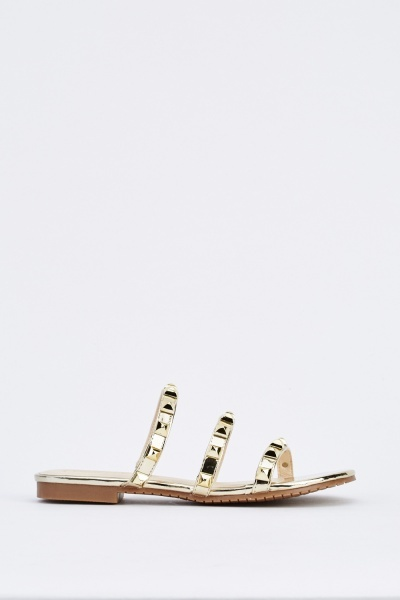 Studded Metallic Slip On Sandals