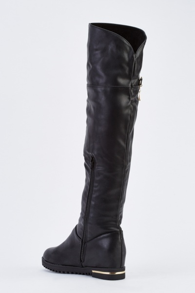 Chained Side Knee High Boots